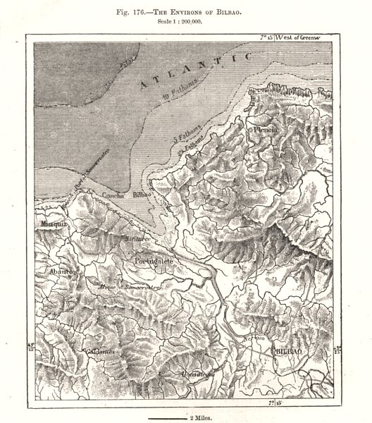 The environs of Bilbao. Spain. Sketch map 1885 old antique plan chart