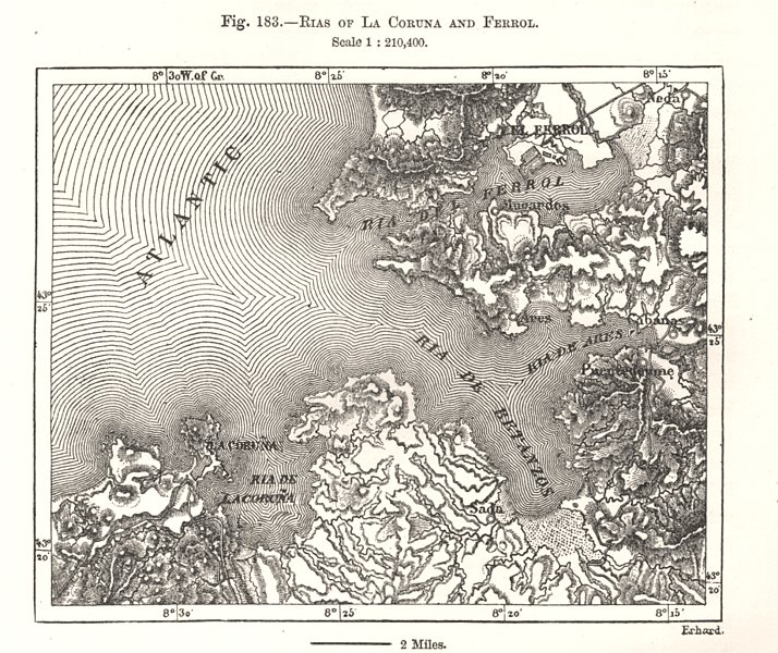 Associate Product Rias of La Coruna and Ferrol. Spain. Sketch map 1885 old antique chart