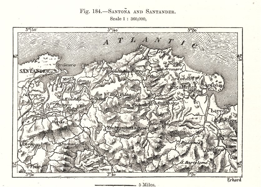 Associate Product Santona and Santander. Spain. Sketch map 1885 old antique plan chart