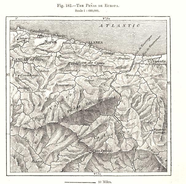 Associate Product The Picos de Europa. Penas de Europa. Llanes. Spain. Sketch map 1885 old