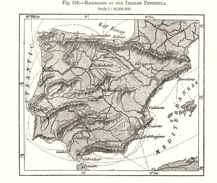 Associate Product Railroads of the Iberian Peninsula. Spain Portugal. Sketch map 1885 old