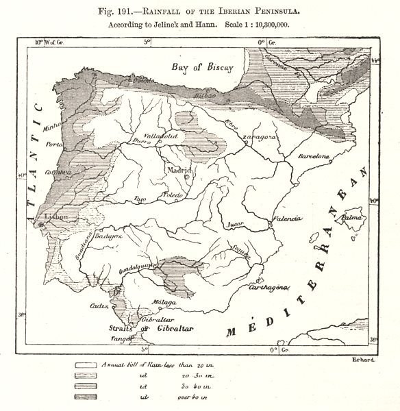 Associate Product Rainfall of the Iberian Peninsula. Spain Portugal. Sketch map 1885 old