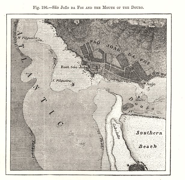 Associate Product Sao Joao da Foz and the Mouth of the Douro. Portugal. Sketch map 1885 old