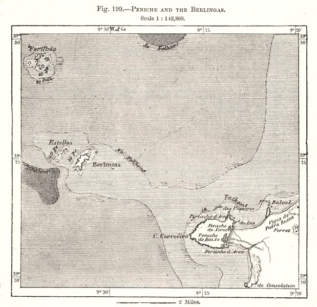 Associate Product Peniche and the Berlengas. Portugal. Sketch map 1885 old antique chart