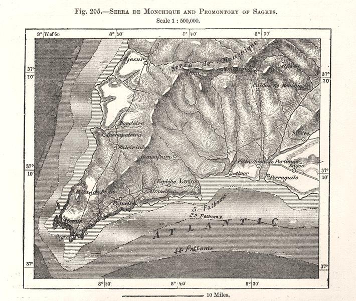 Associate Product Serra de Monchique & Sagres Promontory. Lagos Algarve Portugal. Sketch map 1885