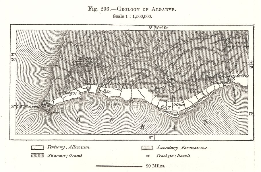 Associate Product Geology of Algarve. Portugal. Sketch map 1885 old antique plan chart