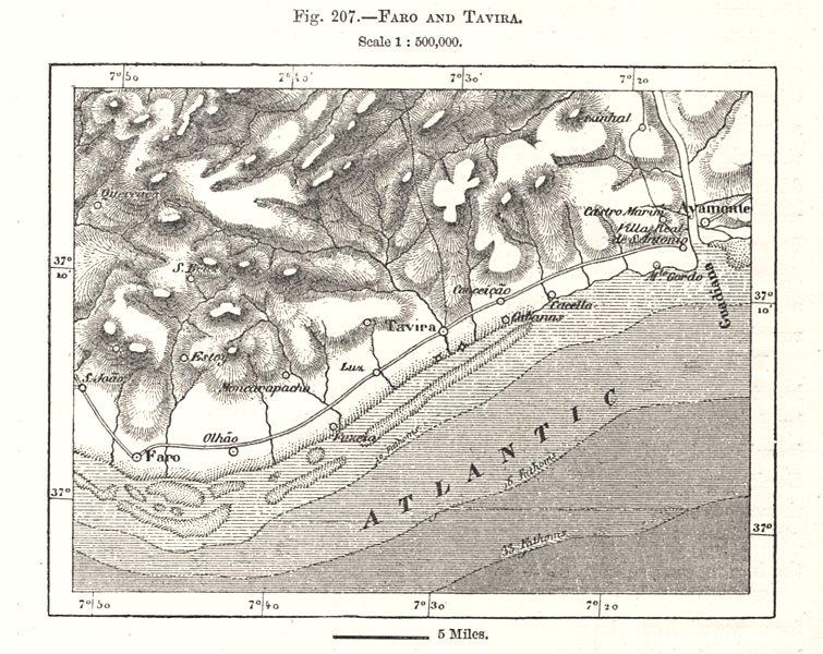 Faro and Tavira. Algarve Portugal. Sketch map 1885 old antique plan chart