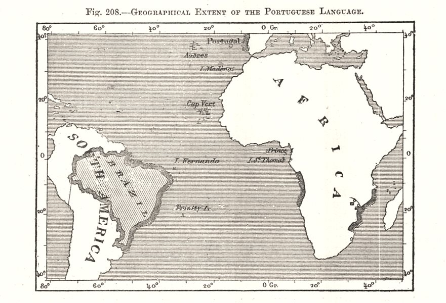 Associate Product Geographical Extent of the Portuguese Language. Brazil Africa. Sketch map 1885