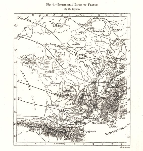 Associate Product Isothermal Lines of France. Sketch map 1885 old antique vintage plan chart