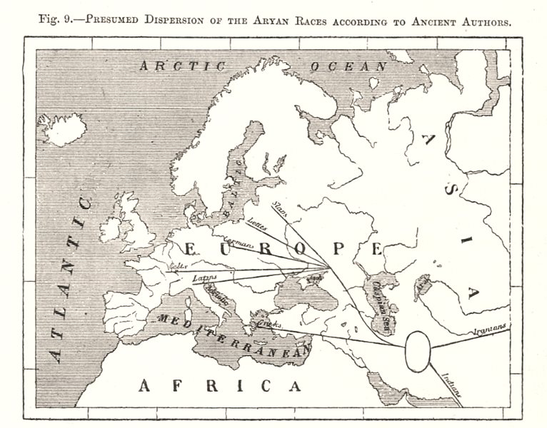 Associate Product Presumed Dispersion of the Aryan Race. Ancient Authors. Europe. Sketch map 1885