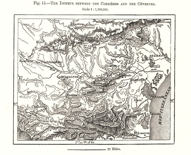 Associate Product The Isthmus between the Corbieres and the Cevennes. Aude. Sketch map 1885