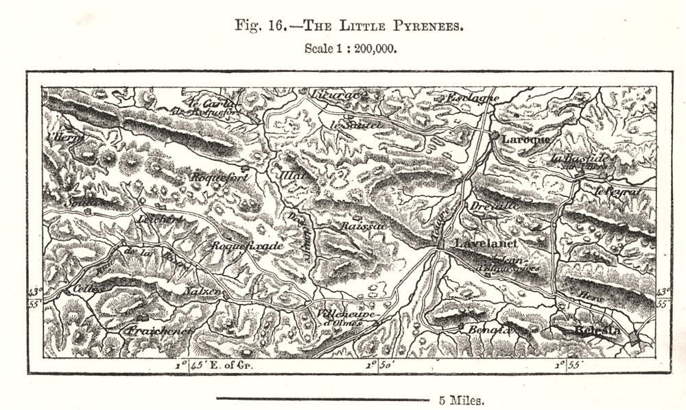 Associate Product The Little Pyrenees. Ariège. Sketch map 1885 old antique plan chart