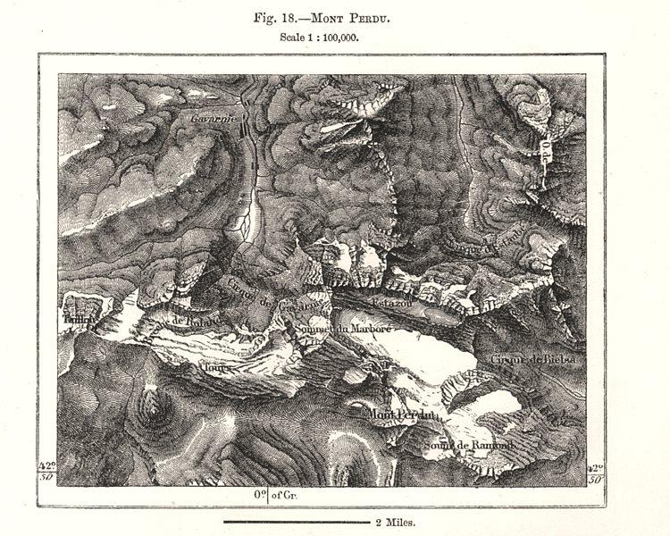Associate Product Mont Perdu. Monte Perdido. Spain Hautes-Pyrénées. Sketch map 1885 old