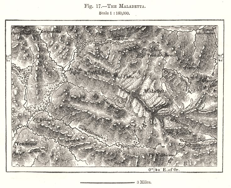 Associate Product The Maladetta. Spain. Sketch map 1885 old antique vintage plan chart