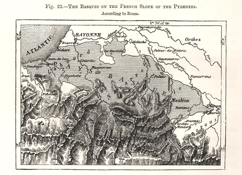 Associate Product Pays Basques. French Pyrenees. Pyrénées-Atlantiques. Sketch map 1885 old