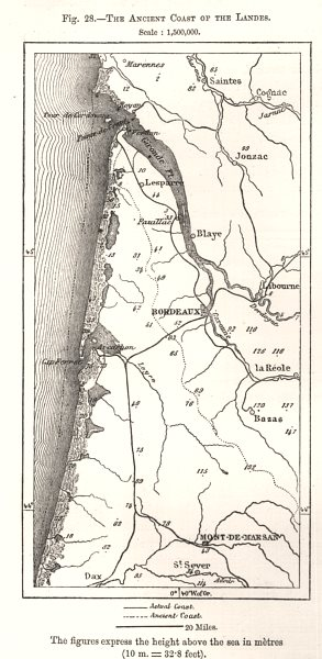 Associate Product The Ancient Coast of the Landes. Gironde Bordeaux. Sketch map 1885 old