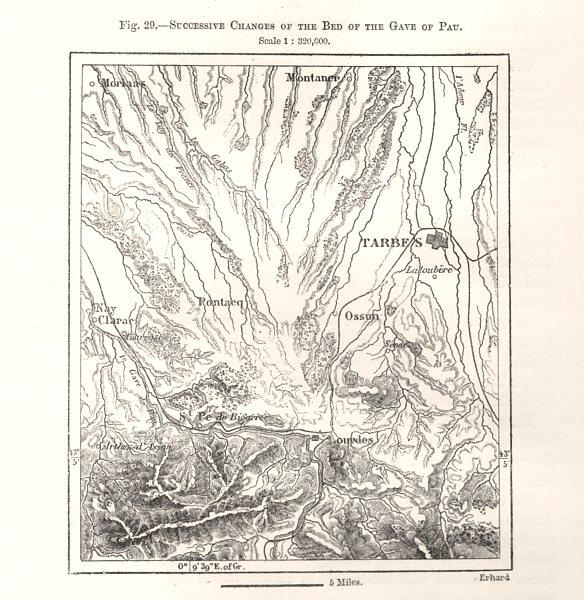 Associate Product Successive bed changes Pau Gave. Tarbes Lourdes Hautes-Pyrénées. Sketch map 1885