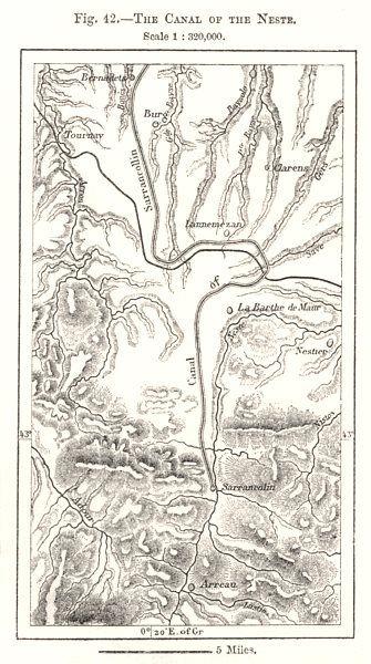 Associate Product The Canal of the Neste. Hautes-Pyrénées. Sketch map 1885 old antique chart