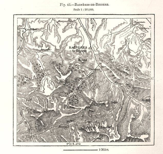 Associate Product Bagneres-de-Bigorre. Hautes-Pyrénées. Sketch map 1885 old antique chart