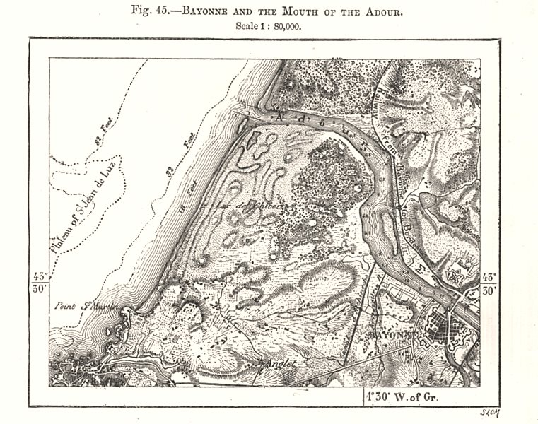 Associate Product Bayonne and the Mouth of the Adour. Pyrénées-Atlantiques. Sketch map 1885