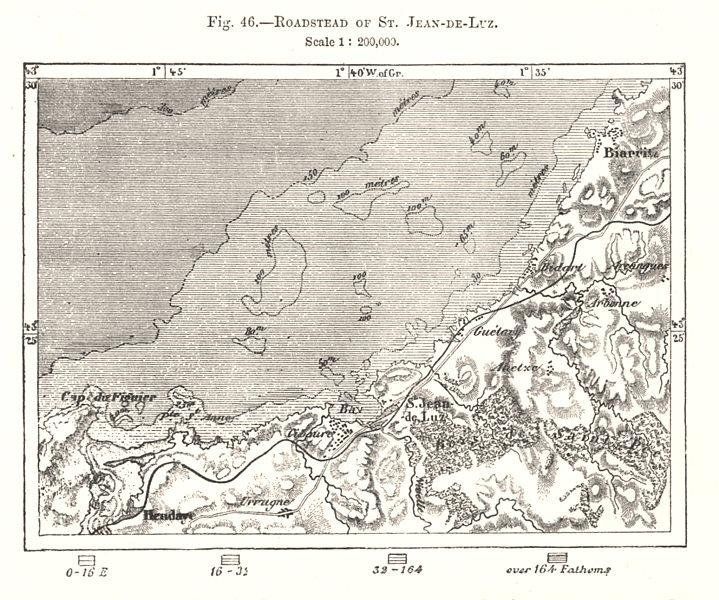 Associate Product Roadstead of St Jean-de-Luz. Biarritz. Pyrénées-Atlantiques. Sketch map 1885