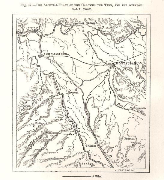 Associate Product Alluvial Plain of the Garonne, Tarn & Aveyron. Montauban. Sketch map 1885