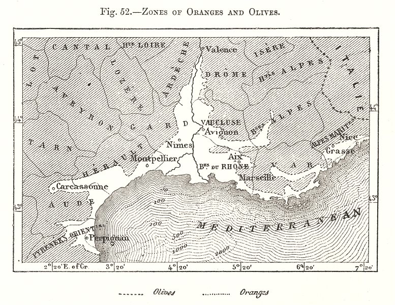 Associate Product Zones of Oranges and Olives. Southern France. Sketch map 1885 old antique