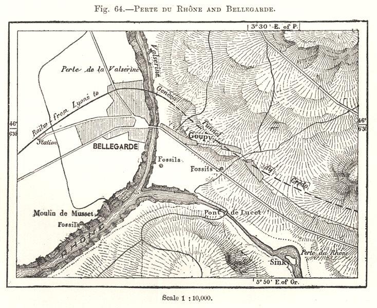Perte du Rhone and Bellegarde. Ain. Sketch map 1885 old antique plan chart
