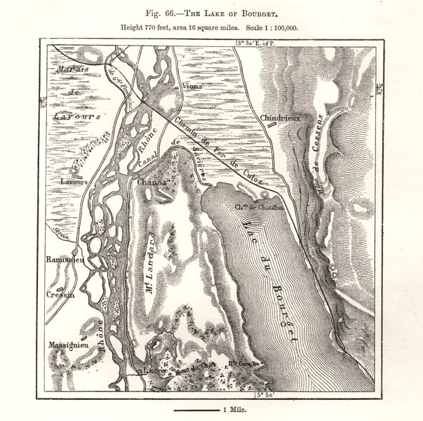 Associate Product The Lake of Bourget. Savoie. Sketch map 1885 old antique plan chart