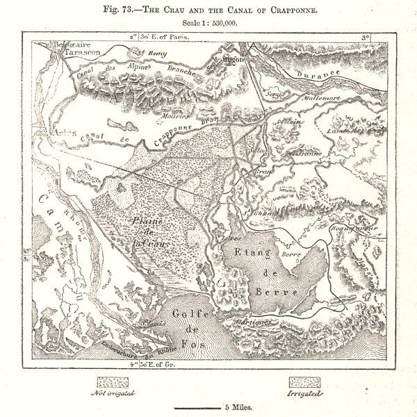Associate Product The Crau & Canal of Crappone. Etang de Berre. Bouches-du-Rhône. Sketch map 1885