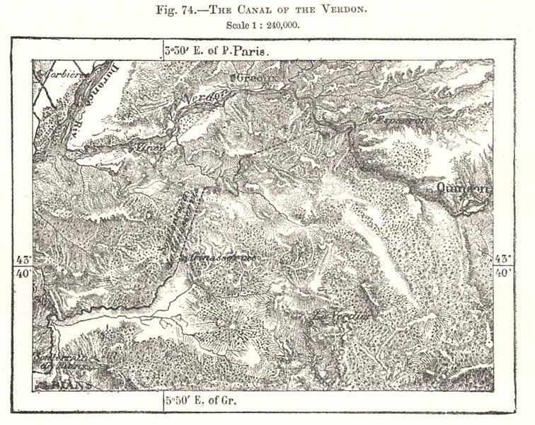 Associate Product Canal of the Verdon. Greoux Quinson. Alpes-de-Haute-Provence. Sketch map 1885