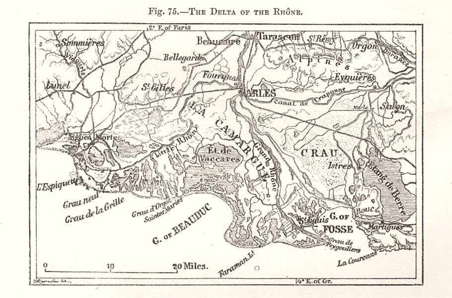 The Delta of the Rhone. Arles. Bouches-du-Rhône. Sketch map 1885 old
