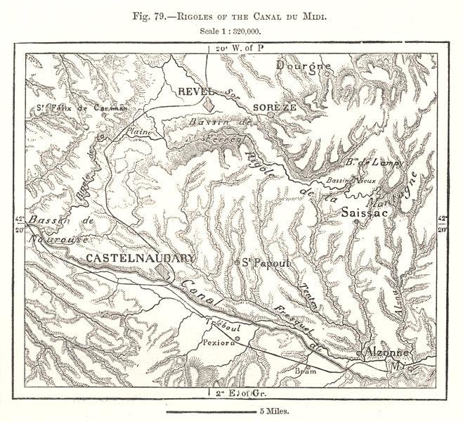 Associate Product Rigoles of the Canal du Midi. Revel Castelnaudary. Aude. Sketch map 1885