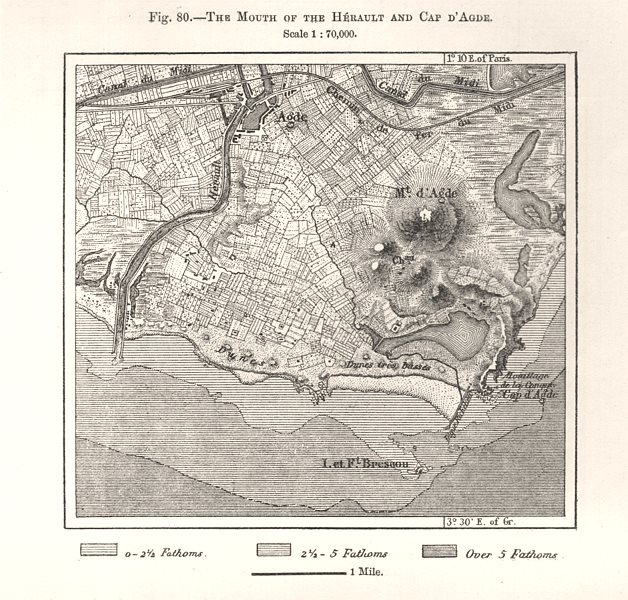 Associate Product The Mouth of the Herault and Cap D'Agde. Hérault. Sketch map 1885 old