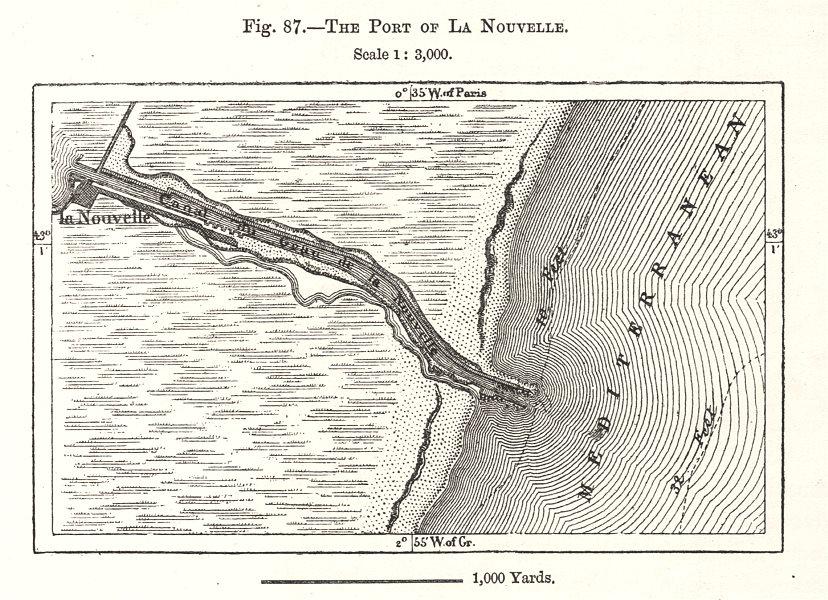 Associate Product The Port of La Nouvelle. Aude. Sketch map 1885 old antique plan chart