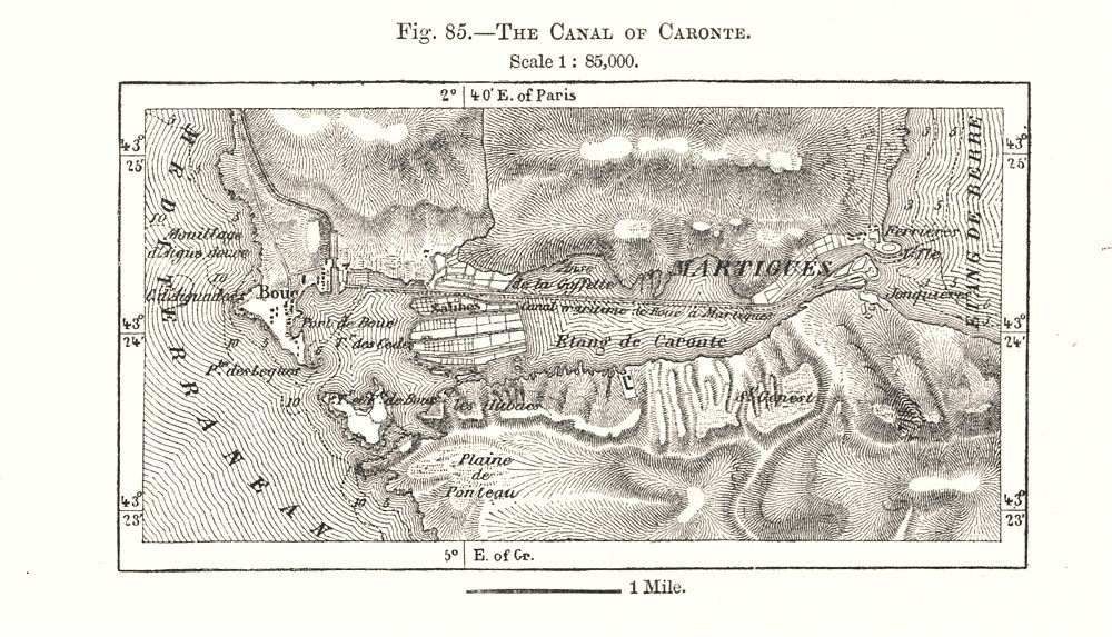 Associate Product The Canal of Caronte. Bouches-du-Rhône. Sketch map 1885 old antique chart