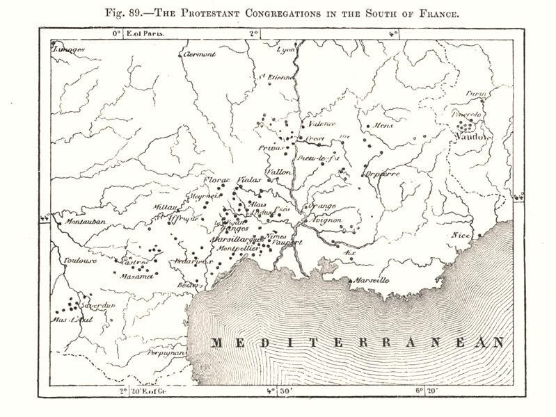 Associate Product The Protestant Congregations in the South of France. Sketch map 1885 old
