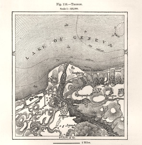 Associate Product Thonon & environs. Haute-Savoie. Lake Geneva. Sketch map 1885 old antique