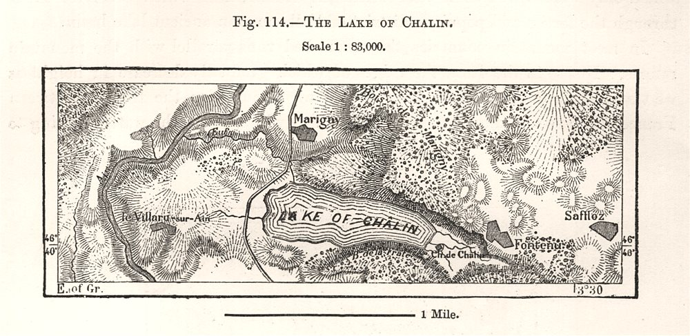 Associate Product The Lake of Chalain. Jura. Sketch map 1885 old antique vintage plan chart