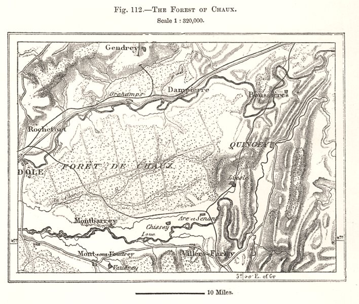 Associate Product The Forest of Chaux. Jura. Sketch map 1885 old antique vintage plan chart