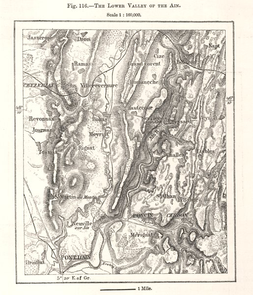 Associate Product The Lower Valley of the Ain. Poncin. Sketch map 1885 old antique chart