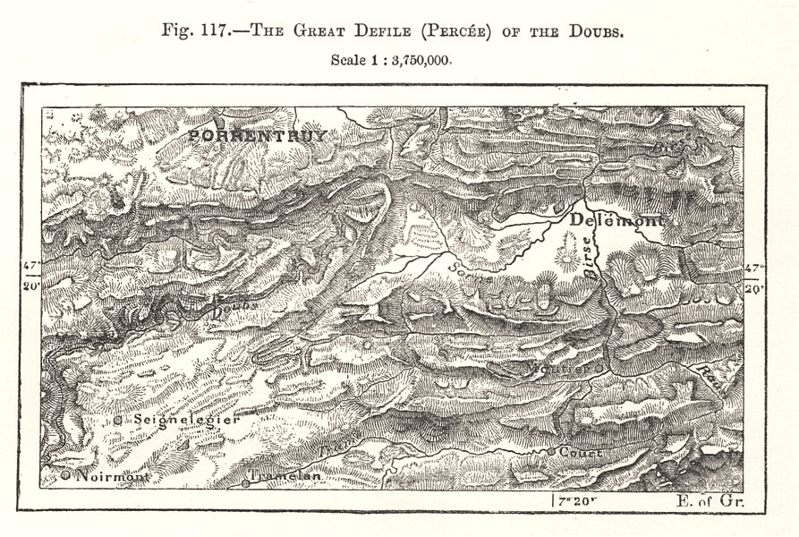 Associate Product The Great Defile (Percee) of the Doubs. Porrentruy. Switzerland. Sketch map 1885