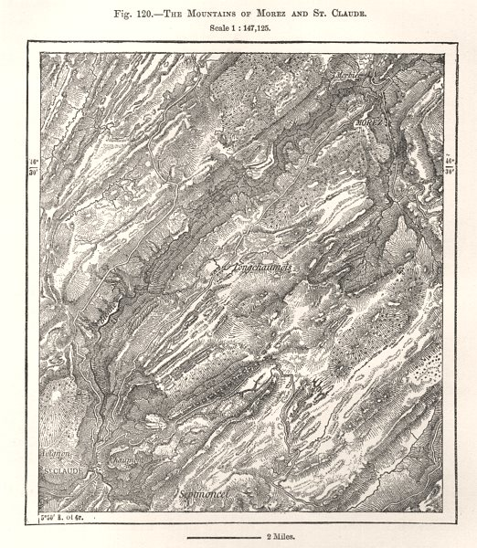Associate Product The Mountains of Morez and St. Claude. Jura. Sketch map 1885 old antique