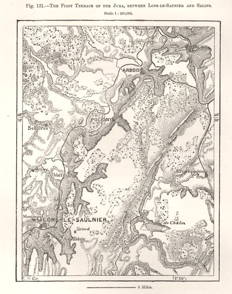 Associate Product First Terrace of the Jura, between Lons-le-Saunier & Salins. Sketch map 1885