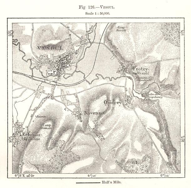 Associate Product Vesoul town city plan & environs. Haute-Saône. Sketch map 1885 old antique