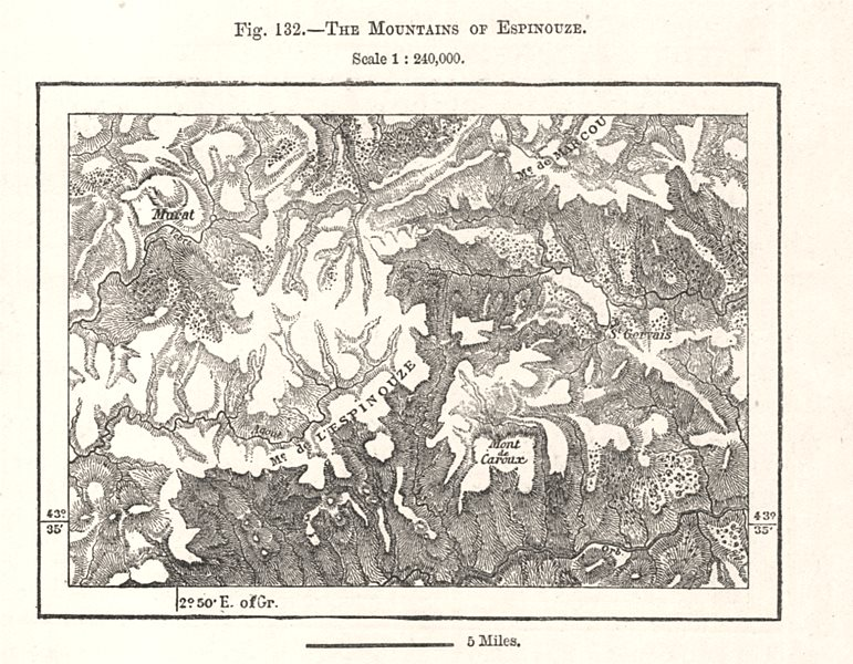 Associate Product The Mountains of Espinouse. Murat. Hérault. Sketch map 1885 old antique