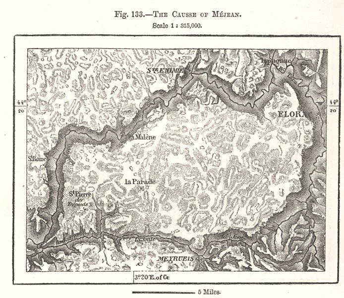 Associate Product The Causse of Méjean. Lozère. Sketch map 1885 old antique plan chart