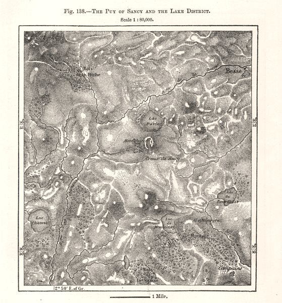 Associate Product The Puy of Sancy and the Lake District. Besse. Puy-de-Dôme. Sketch map 1885