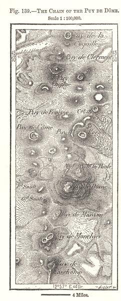 Associate Product The Chain of the Puy-de-Dome. Puy-de-Dôme. Sketch map 1885 old antique