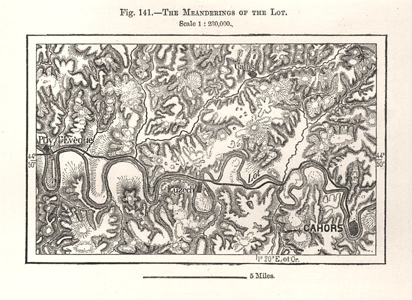 Associate Product The Meanderings of the Lot. Cahors Puy l'Evèque. Sketch map 1885 old